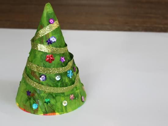 Making Christmas Tree From Party Hat. Super Cute. Making