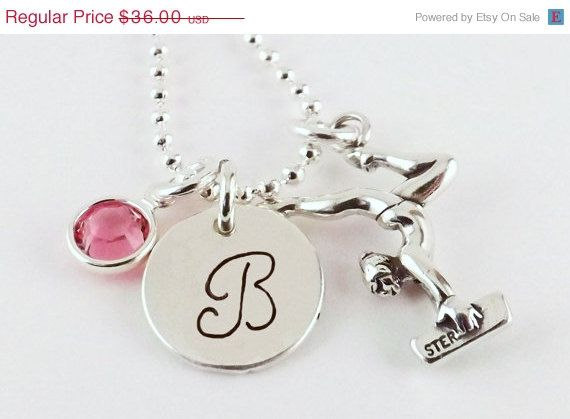 Personalized Gymnastic Initial Charm Necklace with Sterling Silver Female Gymnast Charm and Swarovski Crystal Birthstone by LifePopDesigns, On sale through March 15, 2014 $30.60