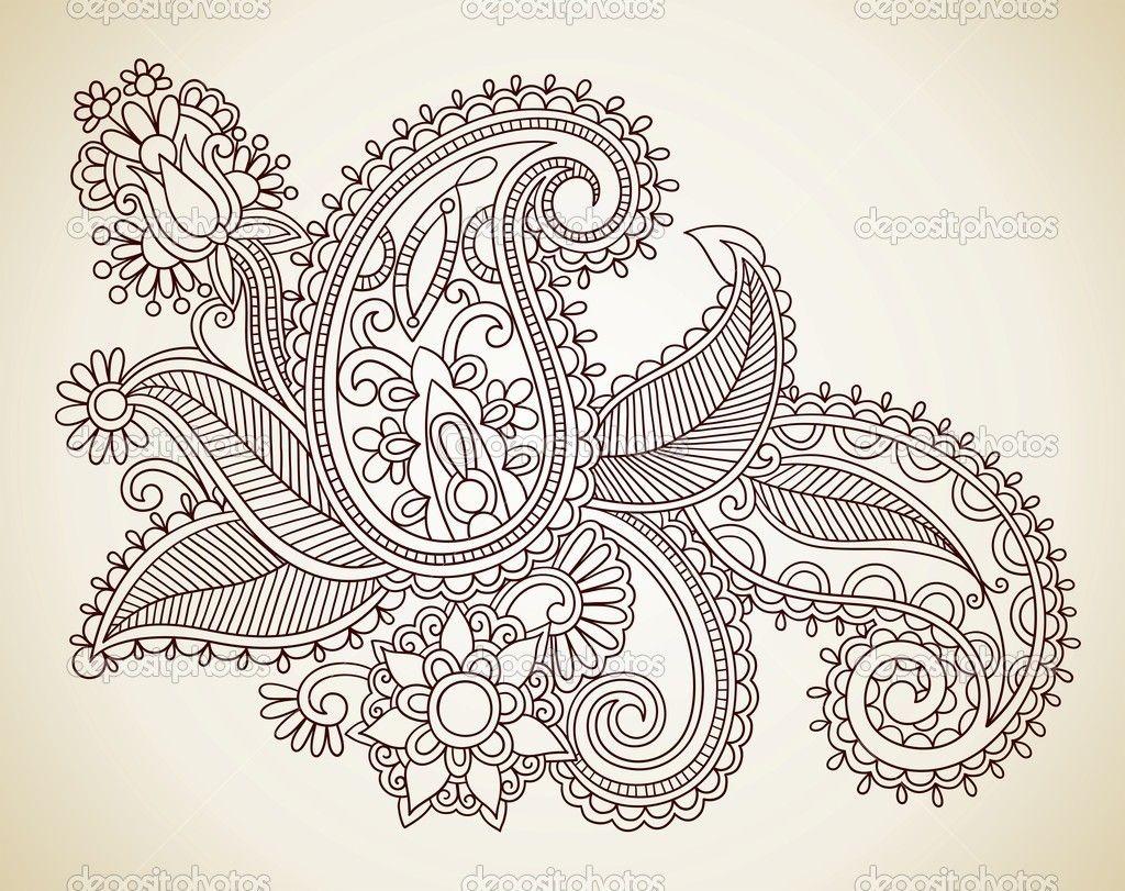 paisley tattoo designs women | Henna floral tattoo design — Stock ...