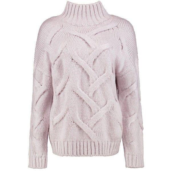 Boohoo Kerry Soft Knit Cable Jumper ($20) ❤ liked on Polyvore ...