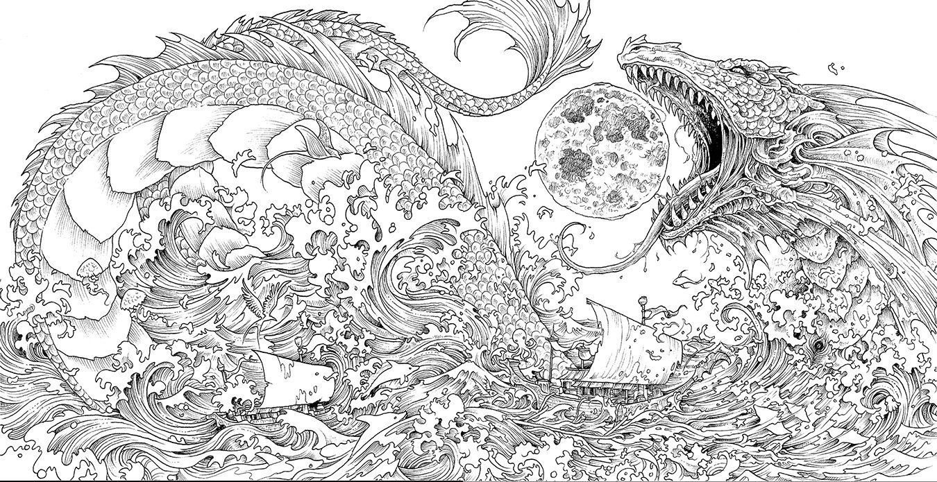 Mythomorphia An Extreme Coloring And Search Challenge Coloring Books Dragon Coloring Page Animorphia Coloring Book
