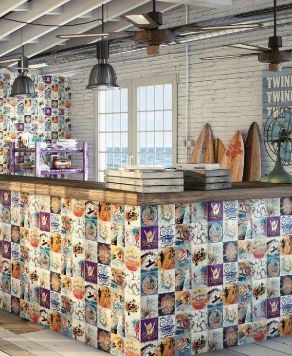 Surf Boards Seaside Pop Art Tiles Industrial Kitchen See Blogpost Yasminchopin