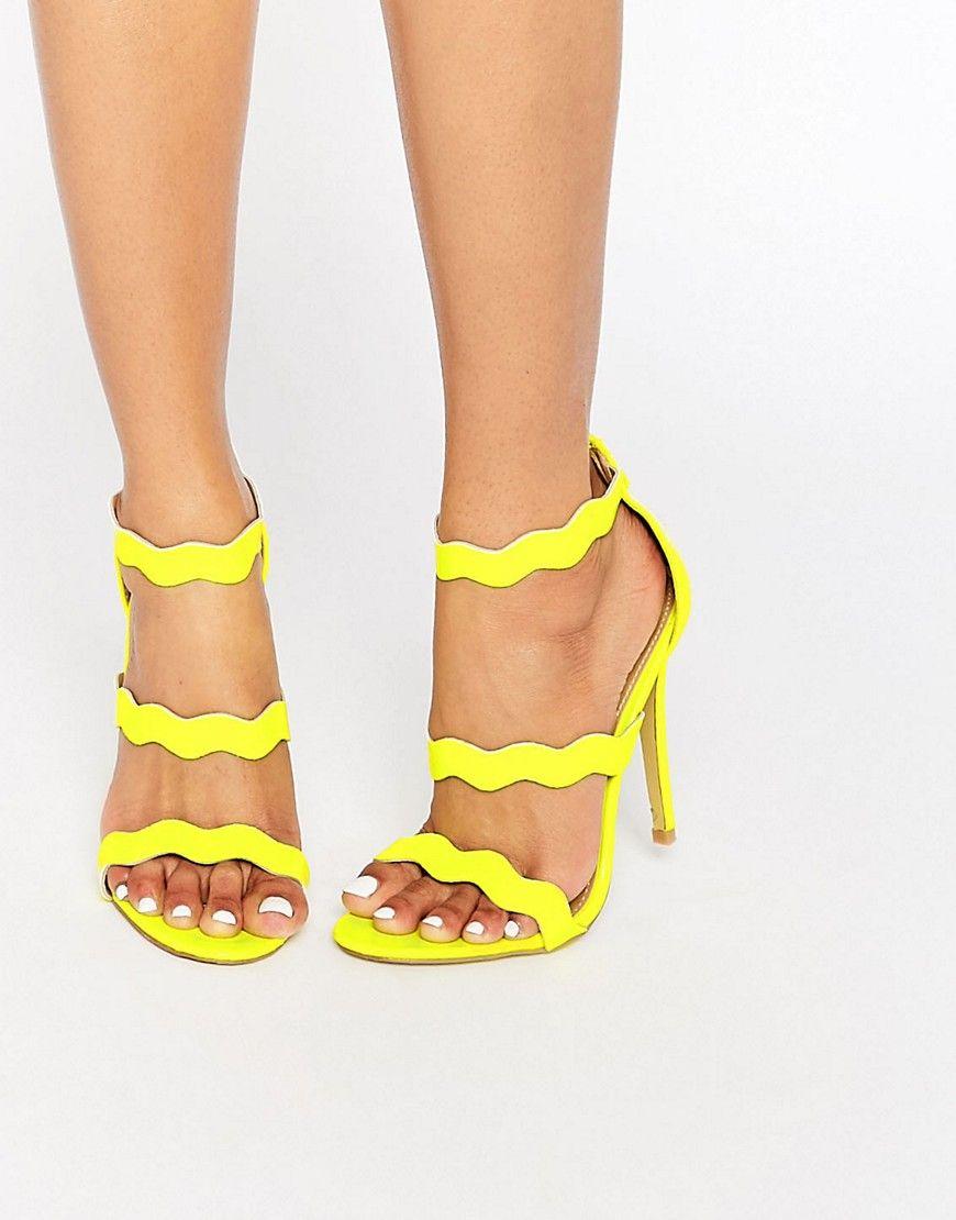 eddb7ac93d2 Public Desire Ela Neon Yellow Strappy Heeled Sandals | wedding in ...