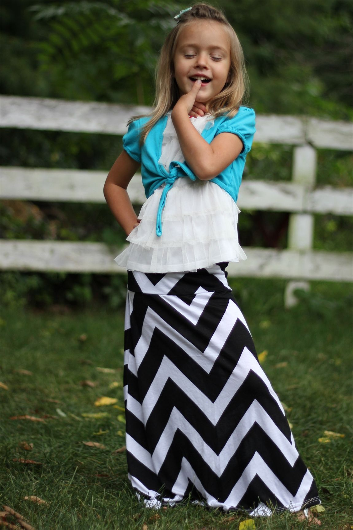 Girls Long Black Chevron Maxi Skirt, Sizes 2-7