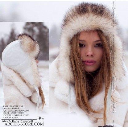 Trapper women's hat - white raccoon fur / arctic-store