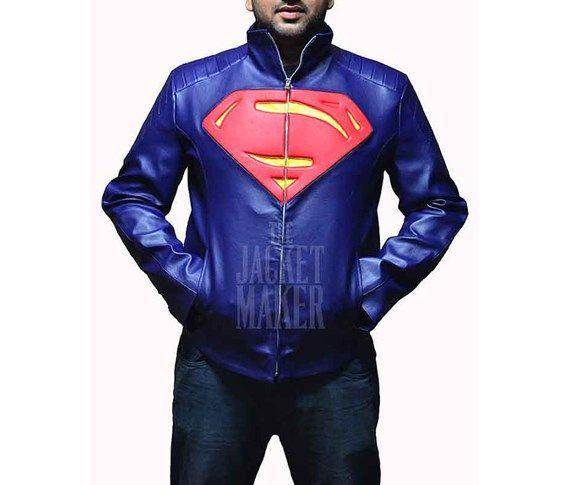 Jaqueta de couro Super Man.