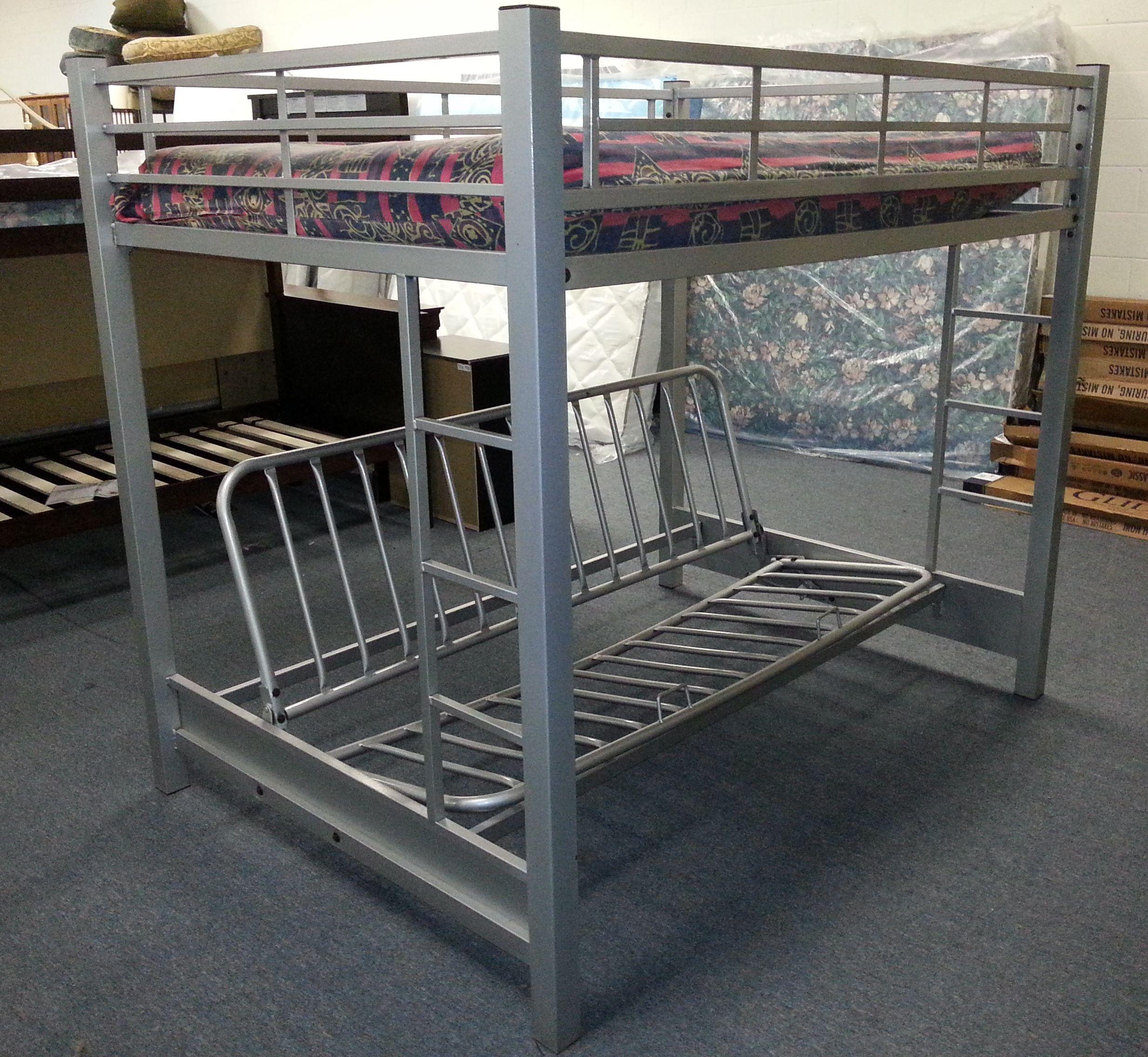 Item 269795 Grey Metal Full Size Bunkbed. Top Is Full