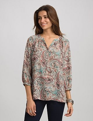 Paisley Blouse | Dressbarn  Paisley Blouse $38.00 Perfect for summer and a great transition into fall; this paisley blouse features muted earth tones and a silhouette we can't get enough of! Professional and chic; it's easy to see the appeal here. Allover paisley print. Imported.