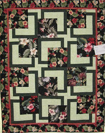 """A great example using fabulous bark cloth and extra borders. 67"""" x ..."""
