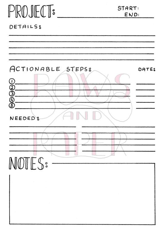 printable project planner bullet journal a5 planner inserts