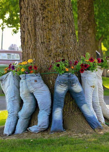 Old Jeans planters- sit on porch with legs hanging down,stuff legs with styrofoam or pool noodles