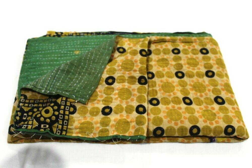 Indian Bedding Bedspread Quilt Cover Vintage Kantha Quilt Coverlet Blanket Twin
