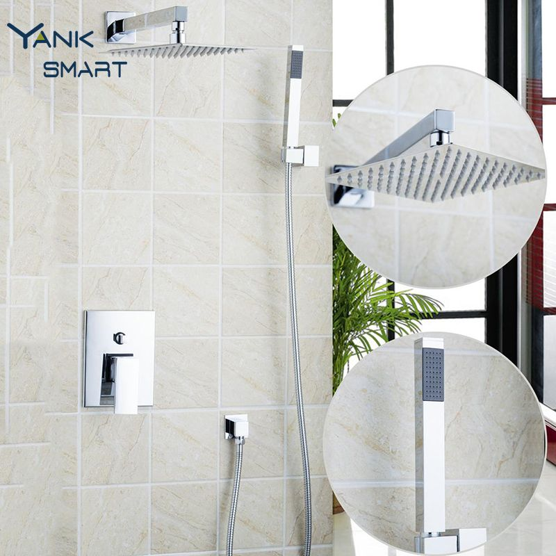 10 Inch Shower Head Luxury Square Style Brass Waterfall Shower Set Factory  Direct New Rainfall Bathroom