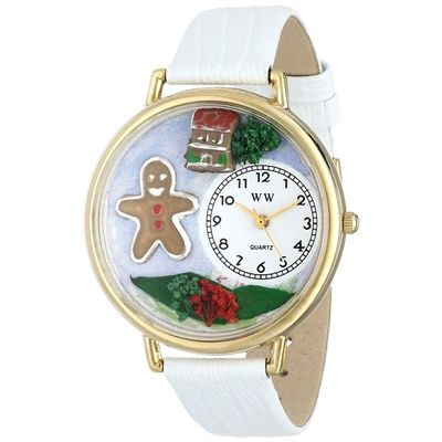 Whimsical Unisex Christmas Gingerbread White Leather Watch. #gingerbreadman #baking #Christmas