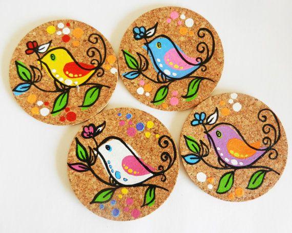 handpainted cork coasters in a pretty bird design.. $20.00, via Etsy.