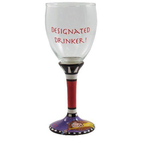 Hand Painted Fun Wine Glasses, 4 Piece Set by BigKitchen. $15.99. Sayings include 'Paradise Found!' 'Grape Therapy!' 'Splendor in the Glass!' and 'Designated Drinker!'. Ceramic hand painted stem and base. Each glass features one of four different sayings painted on its bowl. Set of 4 Hand Painted Fun Wine Glasses. Image of a woman and the text 'Saluda!' are painted on each base. This set of four entertaining wine glasses makes drinking wine fun. Each glass features a ceramic hand...