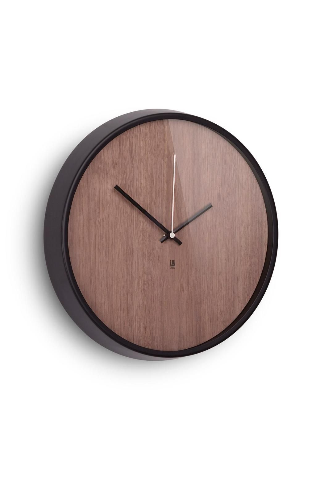 """This tasteful timepiece has the style of a classic, numberless analog wristwatch, with a modern touch: an Ashwood veneer face with a walnut stain and an aluminum rim. Measures 12.75"""". x 1.5"""".   Madera Wall Clock by Umbra. Home & Gifts - Home Decor - Wall Art Washington"""