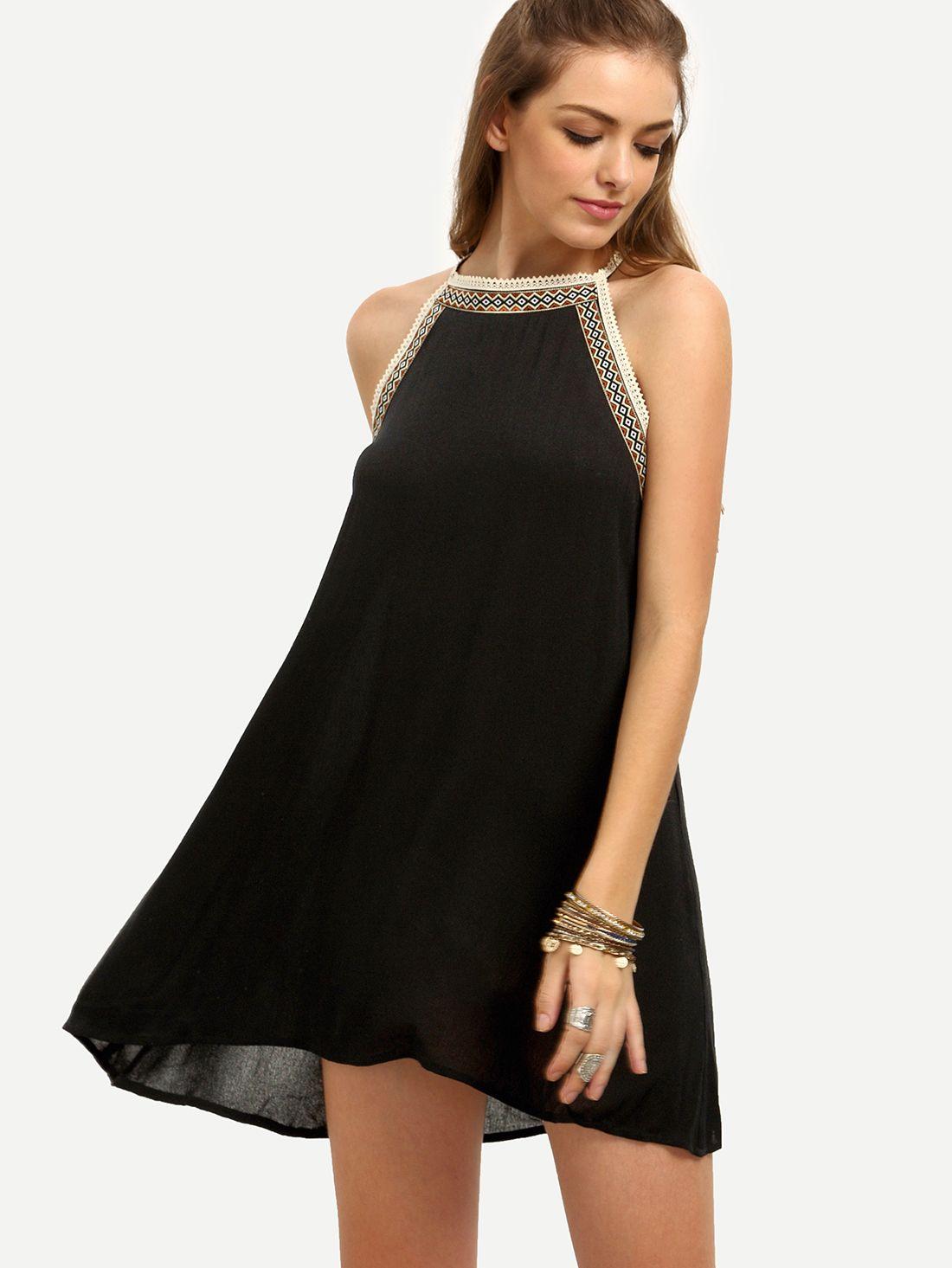 Black Crew Neck Sleeveless Shift Dress Sleeveless Shift Dress Womens Trendy Dresses Shift Dress [ 1465 x 1100 Pixel ]