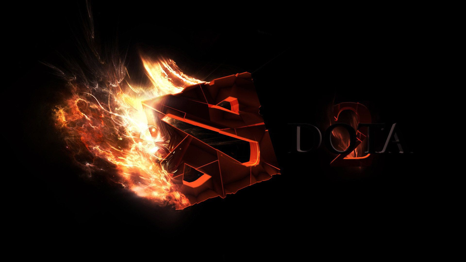 Dota 2 3D Fire Logo Wallpaper