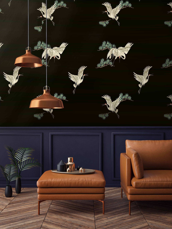 Japanese Print Chinoiserie Birds On Black Wallpaper Etsy Oriental Wallpaper Asian Wallpaper Bird Wallpaper