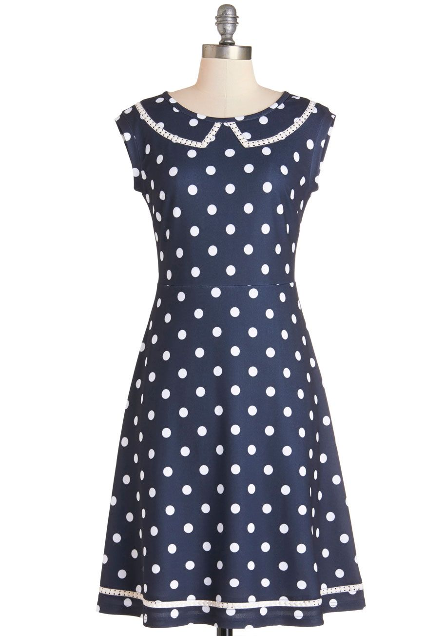 Author Outings Dress in Dots. Bookstore errands and publisher meetings have you out and about this afternoon - so relish the trip to town by wearing this navy polka-dotted fit and flare by Myrtlewood! #blue #modcloth