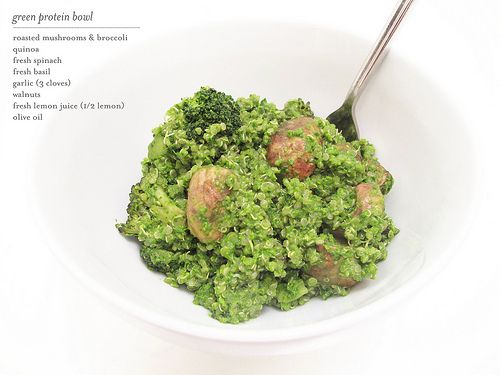 green protein bowl, I would just chop up the mushrooms and broccoli.