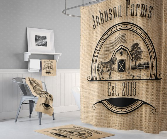 Rustic Farmhouse Shower Curtain Personalized Cow And Pig Logo On