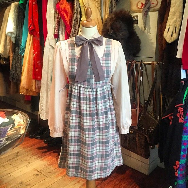 Adorable checked pinafore (£24 UK 12-14) with pussybow blouse (£18 UK 12) #vintage #vintagefashion #pinafore #plaid #checked #pastels #blouse #top #shirt #pussybow #summerfashion #cute #adorable #pretty #trend #fashion #style #original #quirky #unique #holidays #vacation #summerwardrobe #spring #girlie #vintageguru #byresroad #twitter #Glasgow