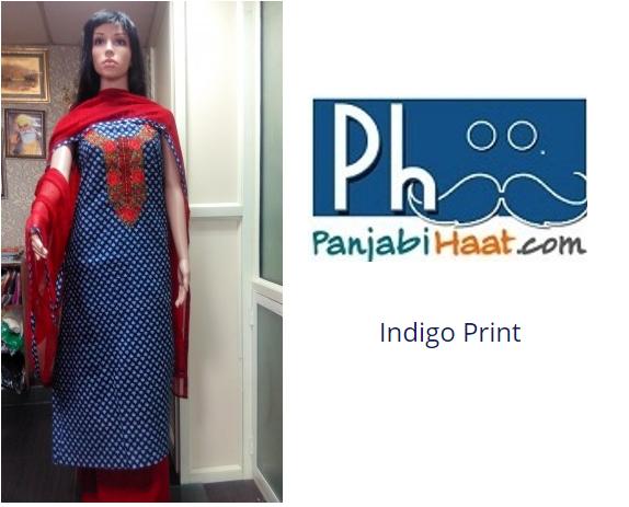 Buy this Rajasthani Indigo vegetable print Cotton suit piece with Red Embroidery on neck yoke.  #LadiesSuit #RajasthaniSuit #SuitPiece #Punjabi