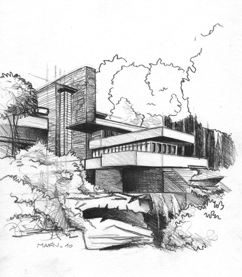 Falling Water Drawing Falling Water Frank Lloyd Wright House Sketch Architecture Drawing
