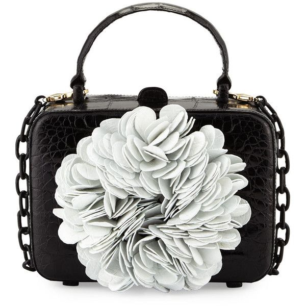 Nancy Gonzalez Floral Top-Handle Structured Box Bag ($1,890) ❤ liked on Polyvore featuring bags, handbags, croc embossed handbags, croco handbag, structured purse, top handle handbags and croc handbags