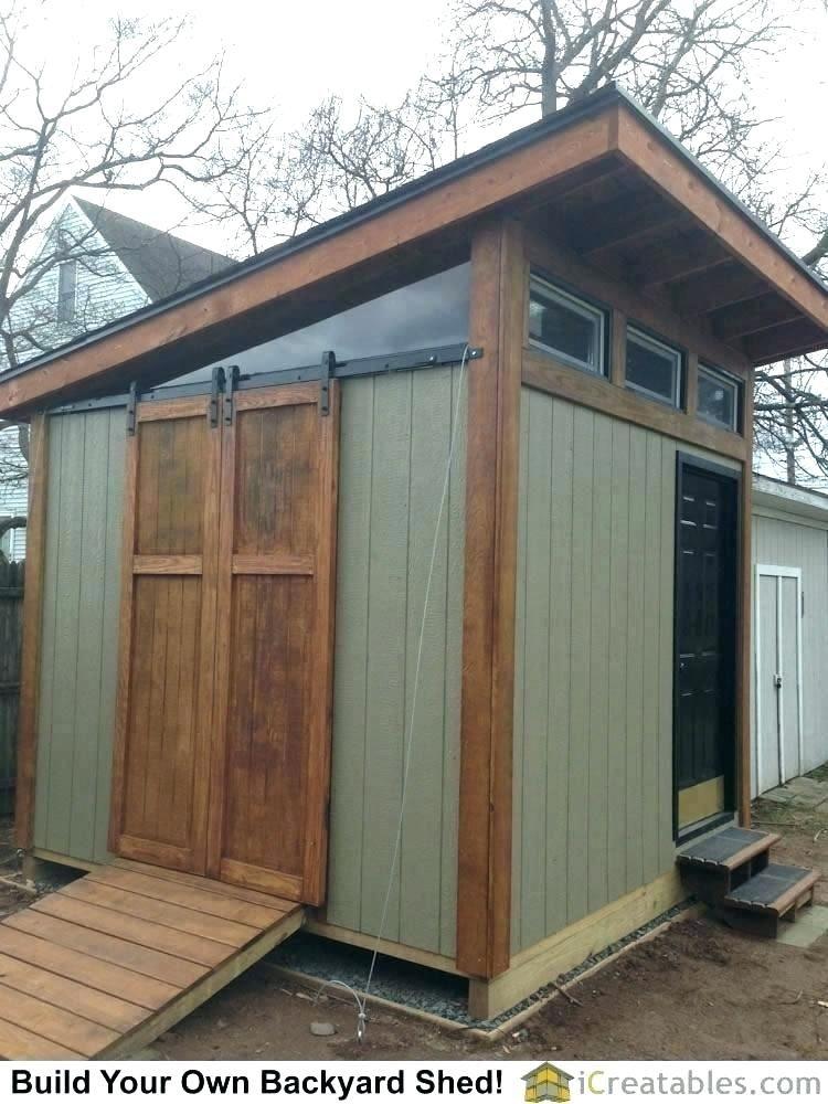 Storage Shed Office Barn Door On Backyard Convert Into