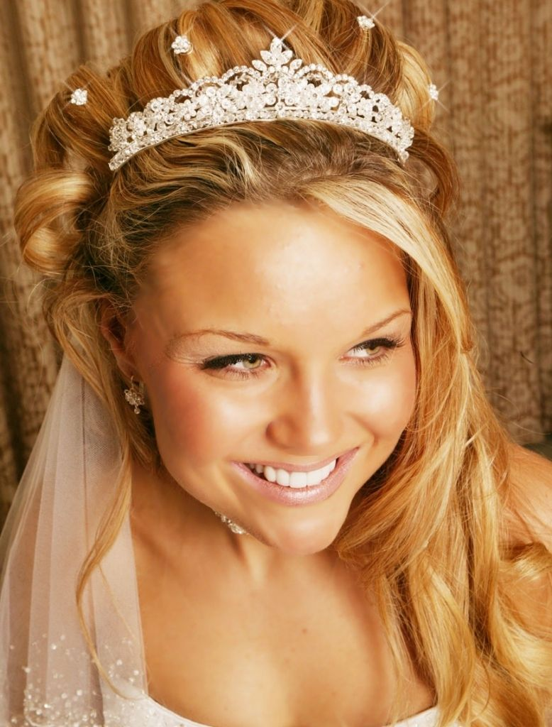wedding hairstyles for long hair half up with veil and tiara long