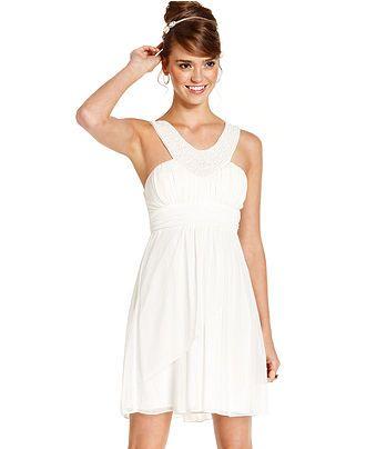 cceb3ff5e8b54 Trixxi Juniors Dress, Sleeveless Beaded Sash - Juniors Homecoming Dress Shop  - Macy's Junior White