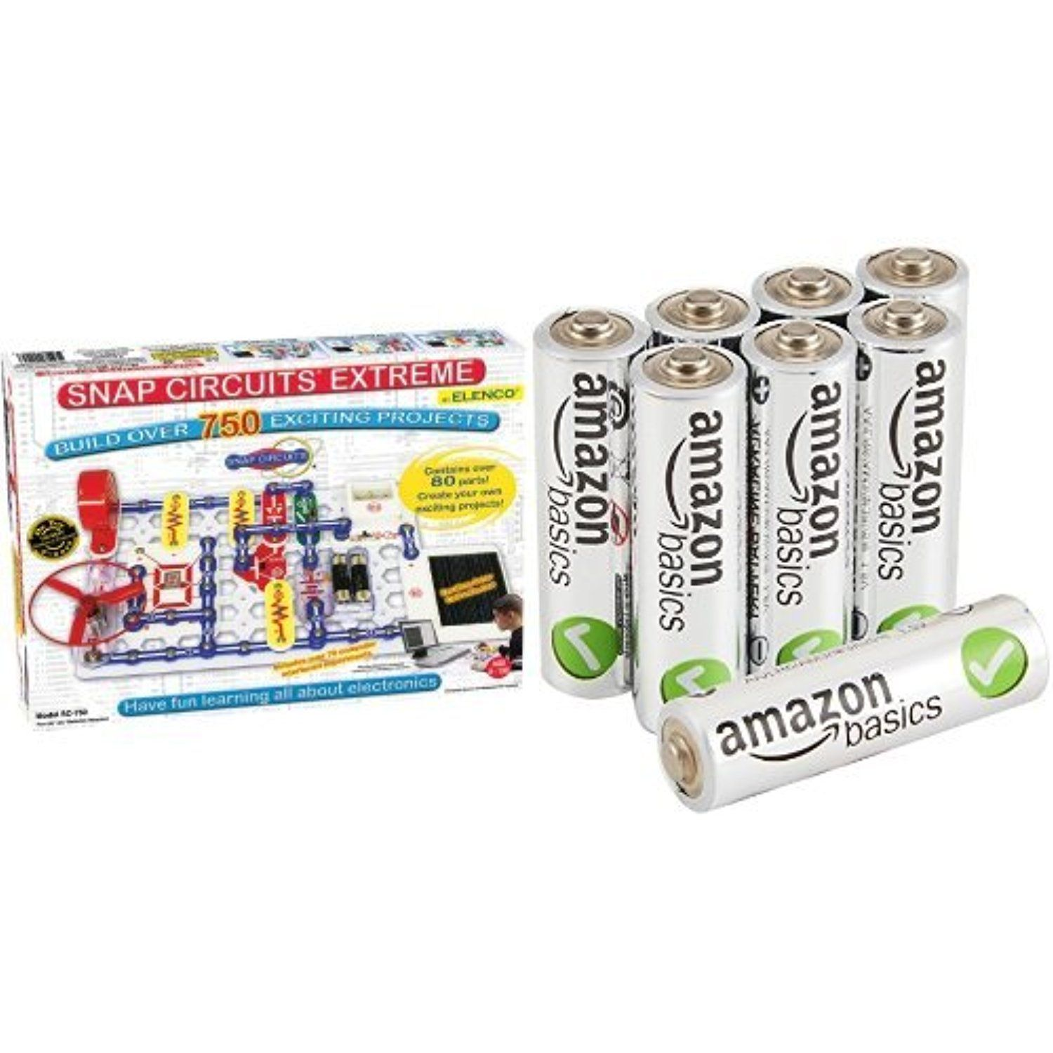 Snap Circuits Extreme Sc 750 Electronics Discovery Kit In Standard Circuit Packaging With Amazonbasics Aa Batteries