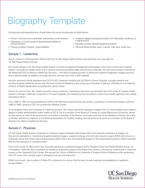 Biography Template  TemplatesForms    Functional