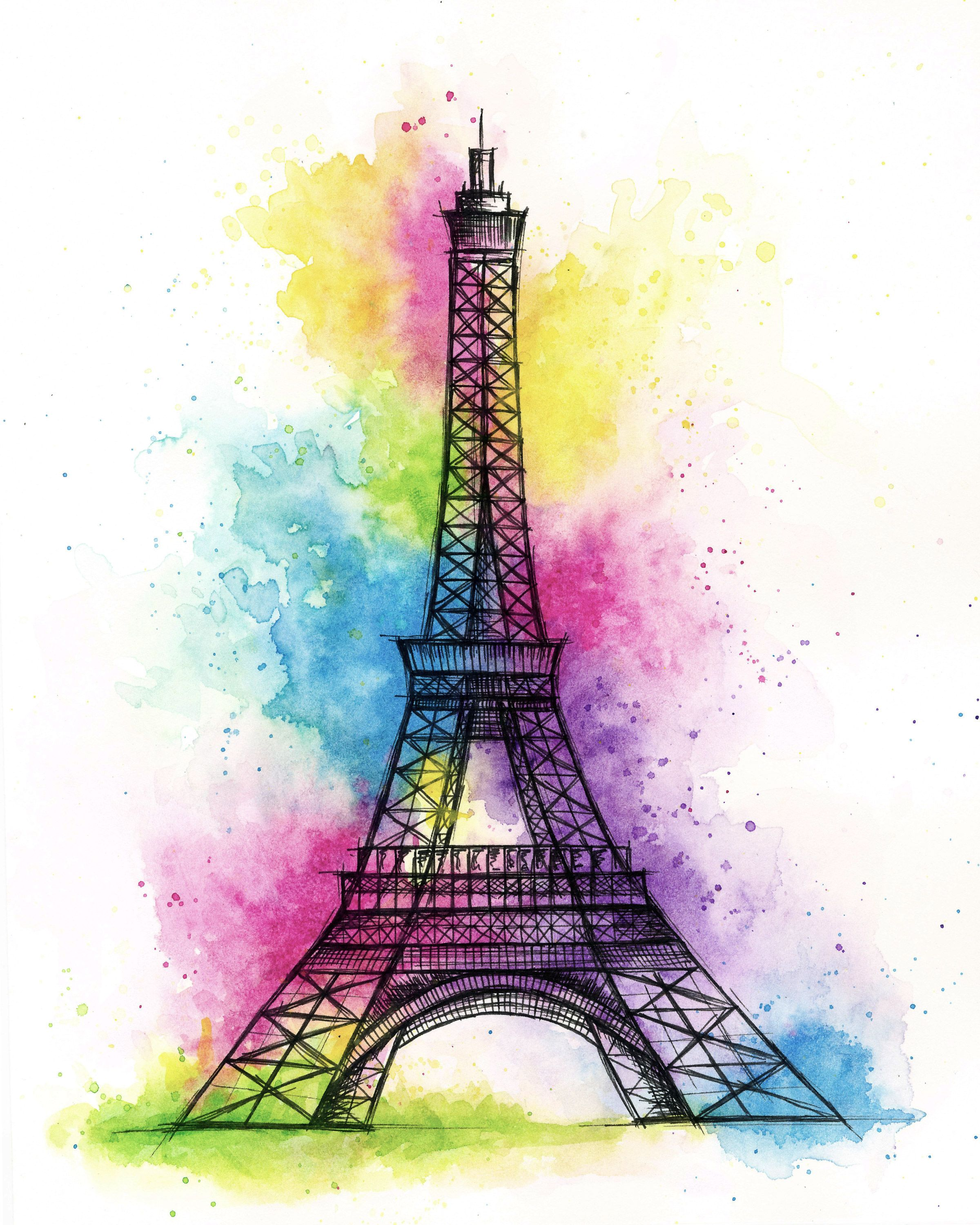 Eiffel Tower Painting Eiffel Tower Watercolor France