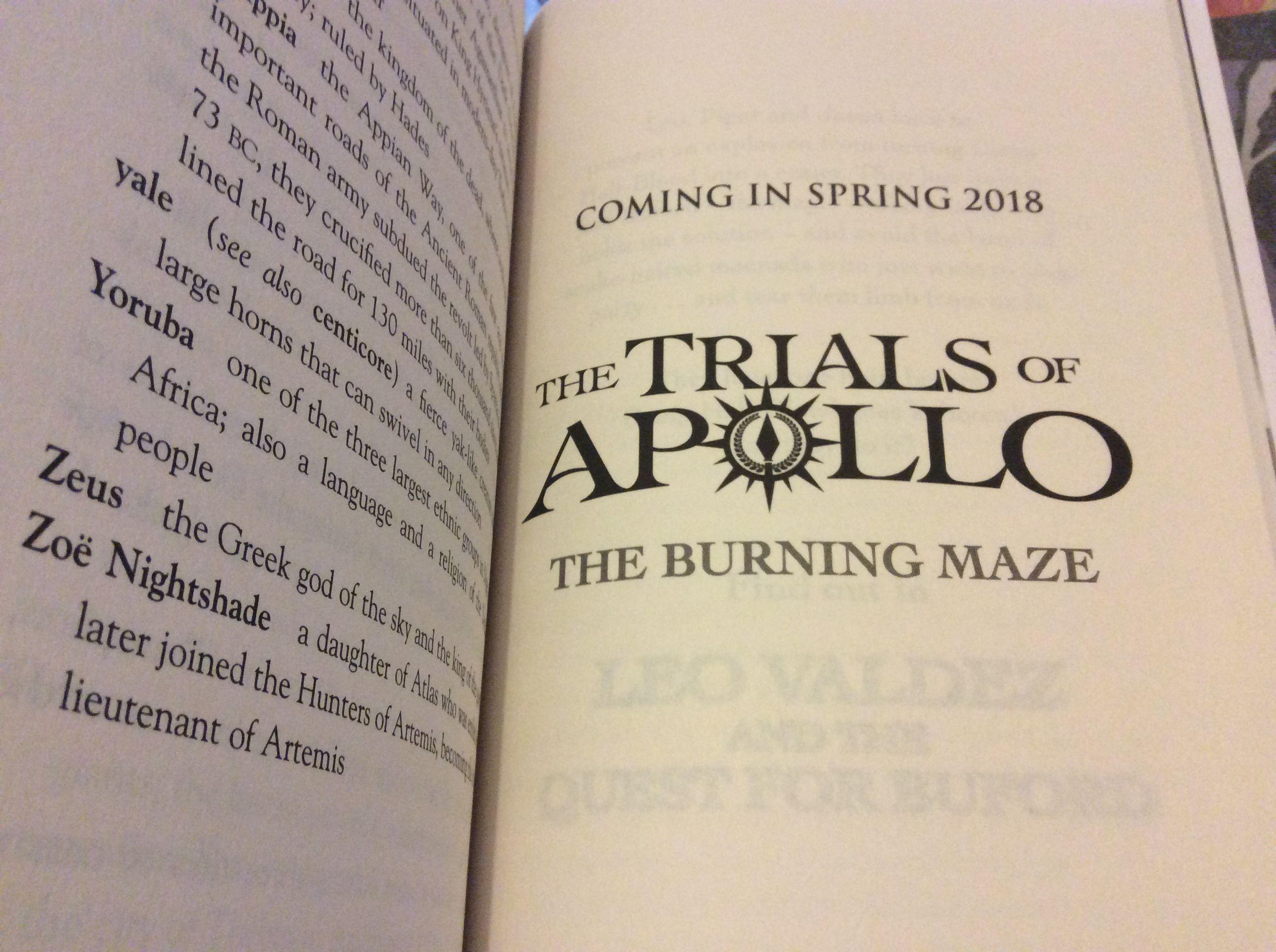 The Trials Of Apollo Book 3: The Burning Maze Teaser By Rick Riordan