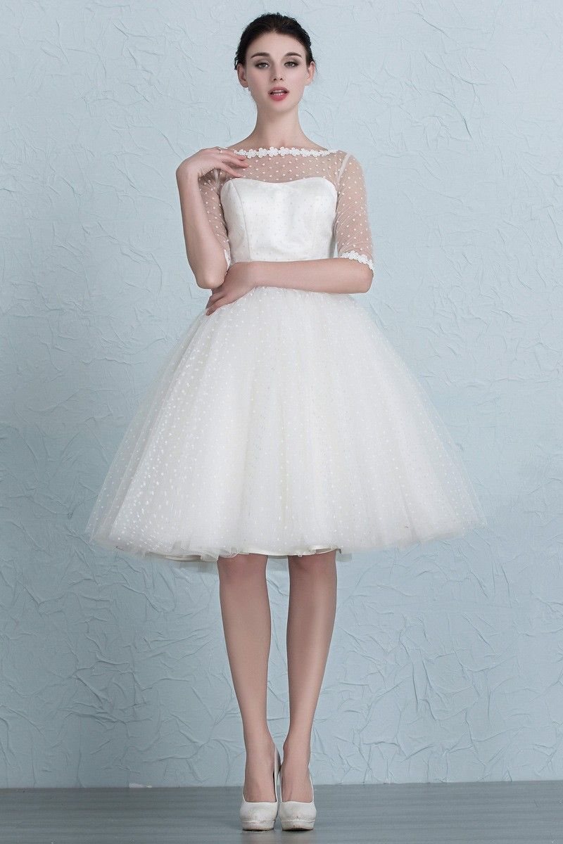 Vintage Short Wedding Dresses Polka Dot Knee Length Tulle Style with ...