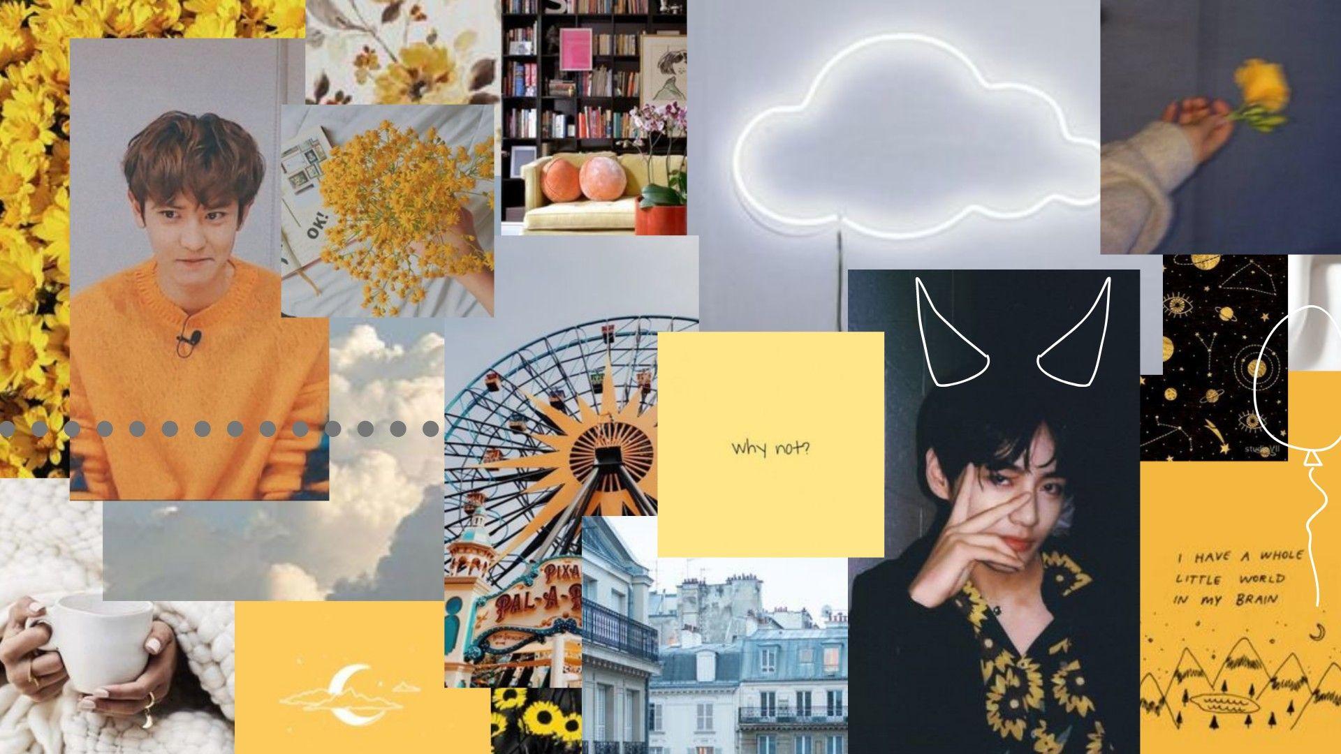 Wallpaper Lockscreen Laptop Chanyeol Exo Bts Taehyung Yellow Latar Belakang Wallpaper Ponsel Trik Fotografi