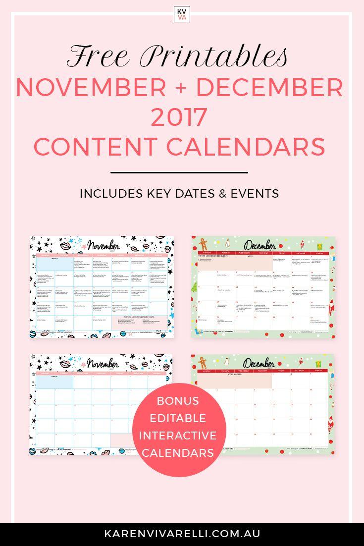 November December Content Calendars Content Calendars Social