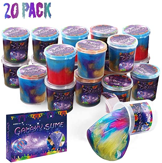 Kids Prize Educational Game Stress Relief Party Favor 36Pack Colorful Sludgy Gooey Fidget Kit for Sensory and Tactile Stimulation Girls EASYCITY Marbled Starry Slime Boys
