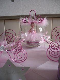 Le carrosse et la princesse , suite de la décoration de table pour un  baptême sur