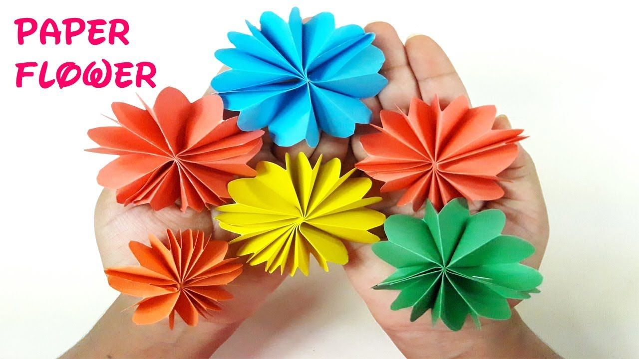 Diy Paper Flower Tutorial Easy Paper Flowers Origami Flower Folding