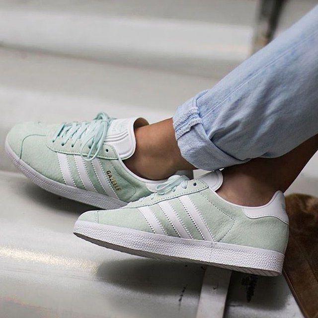 fa654ed2642afa Favorite Adidas Gazelles sneakers tennis shoes in the loveliest ice mint  green suede! Only worn
