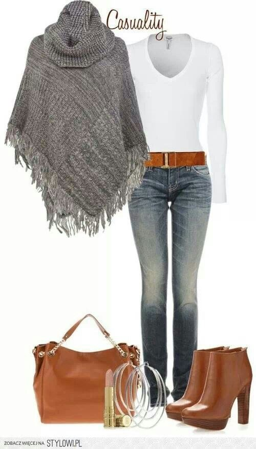 Mk Boots & Large Tote, Sweater Poncho | Jamberry nails outfit ...