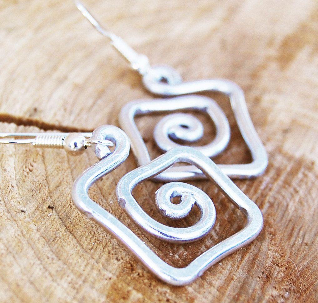 Aluminum Square Spiral Earrings $1200, Via Etsy