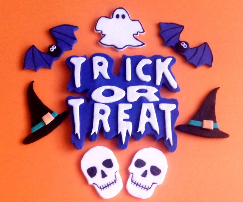 Trick or Treat Fondant Cake Topper, Edible Cake Decoration for