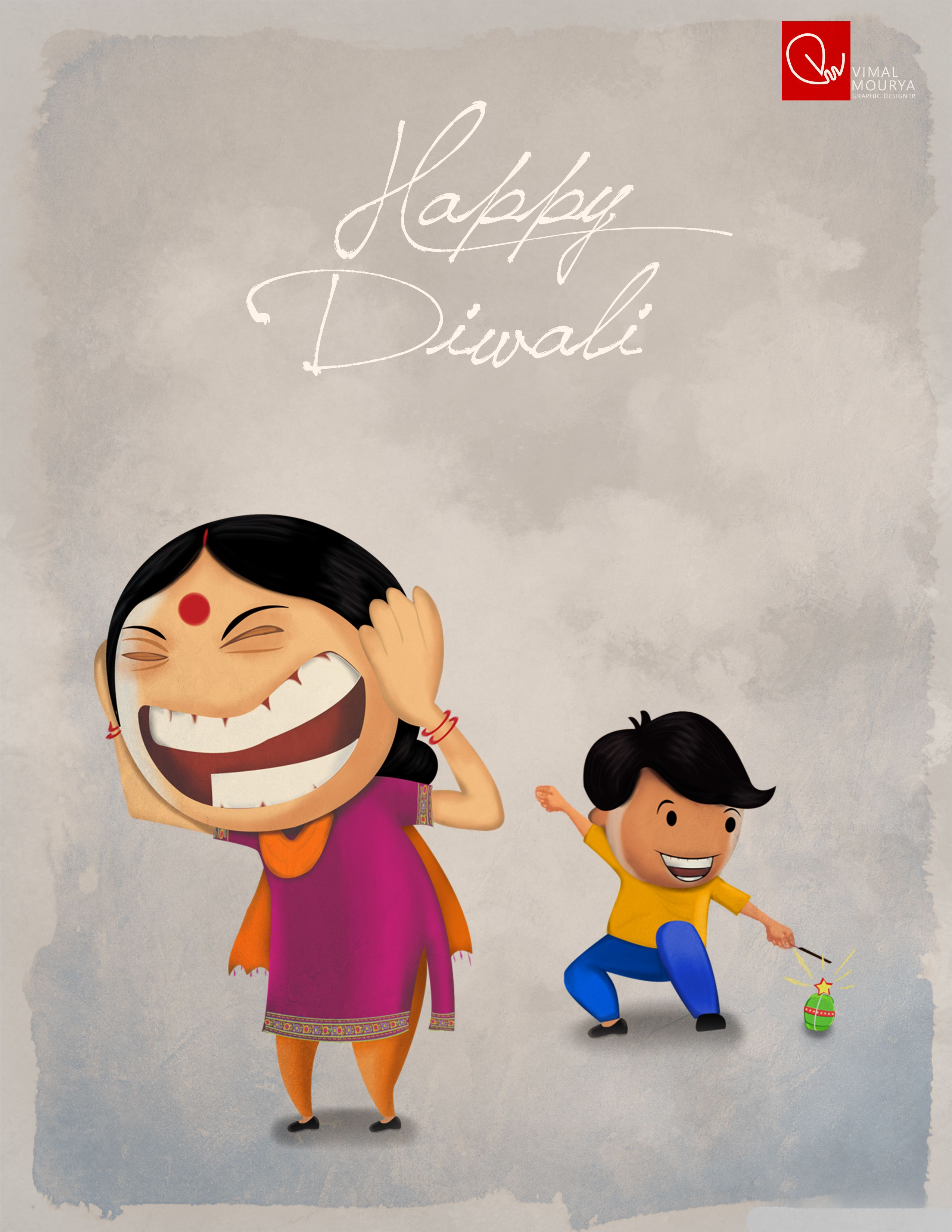 Wish U All A Very Happy Diwali Vimal Illustration Creative Work