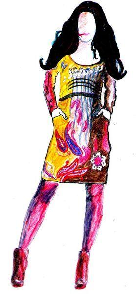 'Modezeichnung Kleid' von Birgit Schlegel bei artflakes.com als Poster